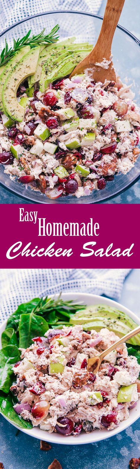 Easy Homemade Chicken Salad is a perfect way to enjoy a light lunch or serve as a side with dinner.  This salad has honey roasted pecans, grapes, chicken, creamy avocados and is tossed with a burst of creamy dressing. #easyhomemadechickensalad #chickensalad #creamydressing #salad #dinner #lunch #food #recipes #thefoodcafe #creamychickensalad