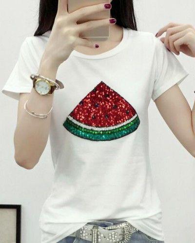 7a9210ab861a Sequin watermelon t-shirt for women fruit design tops plus size ...