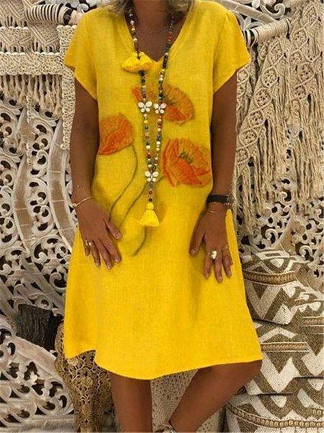 Printed V-neck Short Sleeve Midi Dress – Jartini different dresses party outfit dresses with dresses fall prom dresses dream  wedding dresses linen dresses#amazingdresses #dressgowns #cutesimpledresses  #designerdresses