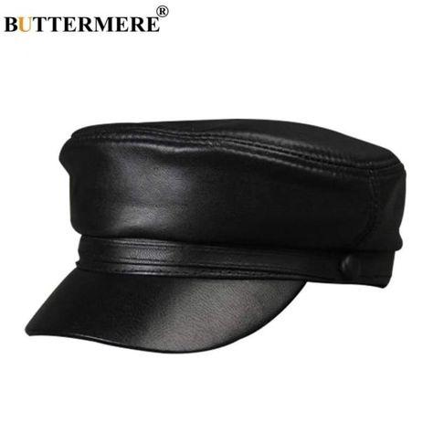 51195fa0fc1a6 Women Military Hat Black Genuine Leather Baker Boy Hat  Presents  Christmas   Celebsinhats