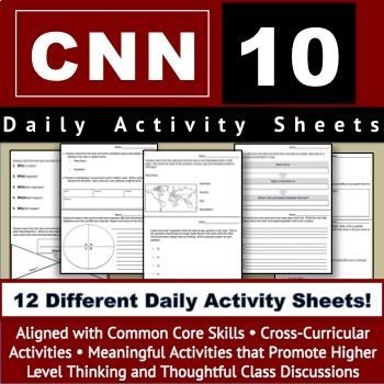 Cnn Student News Cnn 10 Current Events By Created By Corrie Teachers Pay Teachers Common Core Activities Common Core Activity Sheets Cnn students news worksheet