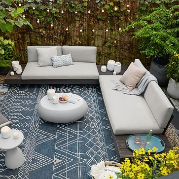 Portside Outdoor Low 3 Piece L Shaped Sectional W Corner Coffee Table In 2020 Outdoor Sitting Area Backyard Furniture Ikea Outdoor