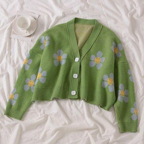 Spring Flower Knit Cardigans Sweater Women Vintage Style Elegant Coat Loose Print Short Tops Cute V-Neck Female Sweater Jacket - One Size / Green