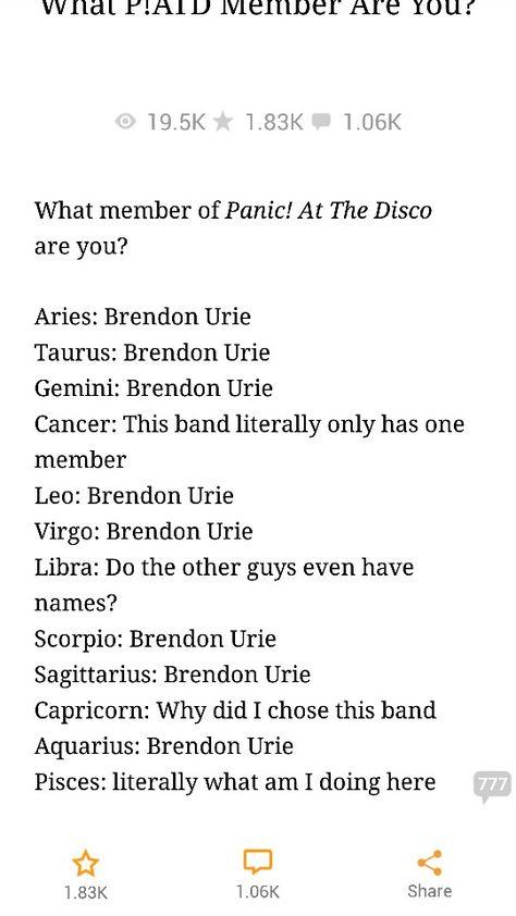 Brendon Urie Birth Chart : brendon, birth, chart, P!atd, Zodiac., Accurate, Zodiac, Signs, Funny,, Panic!, Disco,, Fandom, Jokes