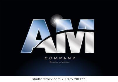 Alphabet Letter Am A M Logo Design With Metal Blue Color Suitable
