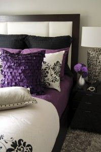 black and white and purple bedroom. Love the look of black  white and purple together silver accents It looks really nice I am so in love with thi Pinteres pops color