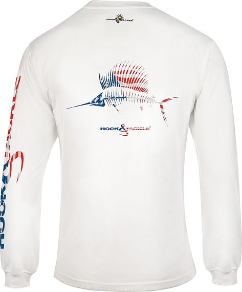 Hook & Tackle Men's American Sailfish | Long Sleeve | UV Sun Protection | Performance Fishing Shirt - White - CT12HPYTLO1,Men's Clothing, T-Shirts & Tanks, T-Shirts  #men #fashion #style #outfits #gift #T-Shirts
