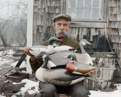 Blast from the (Colorized) Past c. 1926: Joe Lincoln, a champion decoy carver from the 1920s, gets fresh look from Dynamichrome. Photo courtesy of the Boston Public Library, Leslie Jones Collection via Delta Waterfowl Foundation FB