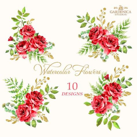Red Roses Watercolor Clipart Red Flower Clipart Roses Bouquets