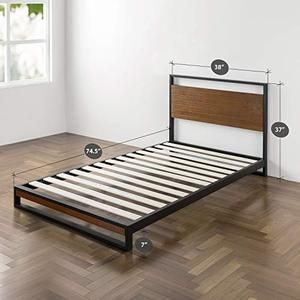 Zinus Suzanne Metal And Wood Platform Bed Furniturify Wood