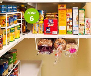 Zone your pantry. Breads & cereals in a breakfast spot (breads in under shelf basket so they don't get squashed). Turntable in corner for honey, peanut butter...