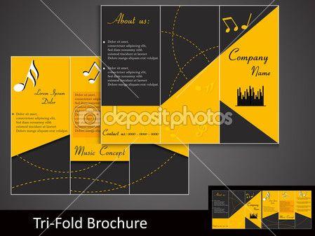 Tri Fold Music Brochure Template Design  Brochures Design