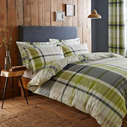 Dunelm Checked Green And Grey Stanley Duvet Cover Set Green Bedding Green Bed Linen Bed Linens Luxury
