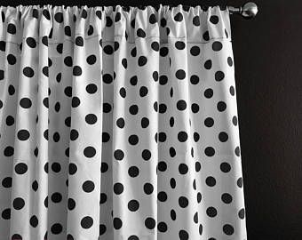 Cotton Curtain Panel Polka Dots /& Spots Small Dot Black on White  Window Decor  Window Treatments  Backdrop