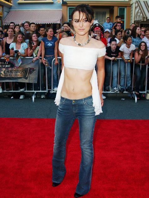 Noughties fashion trends: Keira Knightley wears low-rise jeans on the red carpet.