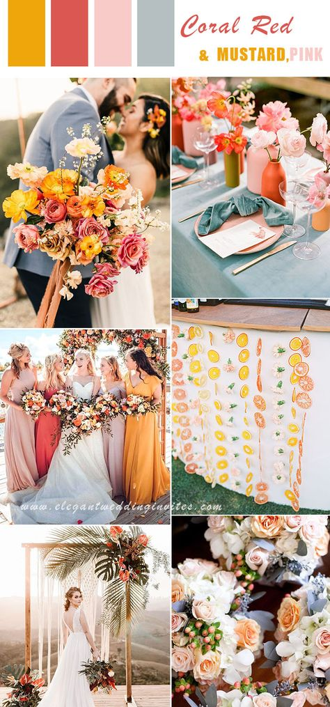 vibrant and colorful summer beach wedding colors in coral red,mustard yellow and blush Mustard Yellow Wedding, Yellow Wedding Colors, Spring Wedding Colors, Wedding Summer, Yellow Themed Weddings, Bright Color Wedding, Mustard Wedding Theme, Coral Wedding Themes, Wedding Coral