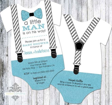 20 Little Man - Bow Tie and Suspenders Baby Shower Invitation - Onesie Shaped Bow Tie Shower Invitation, Blue Glitter Boy Invitation