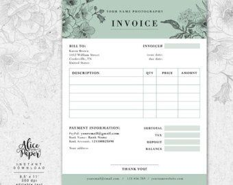 Invoice Template Photography Invoice Receipt Template For Etsy In 2020 Photography Invoice Photography Invoice Template Invoice Template