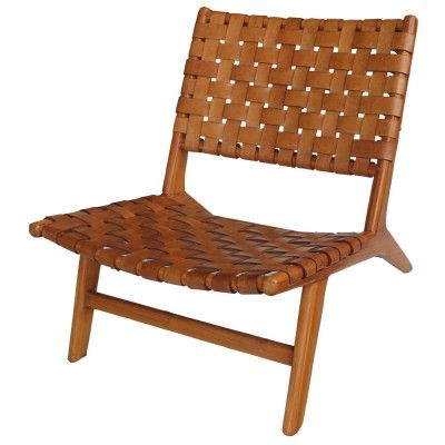 strap leather occasional chair, tan - occasional chairs