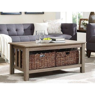 40 Wood Storage Coffee Table With Totes Saracina Home In 2020