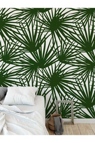 Palm Pom Green Peel And Stick Wallpaper By Terri Ellis Bedroom Diy Wall Coverings Peel And Stick Wallpaper