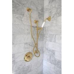 Antique Riser Tubes And Cross Connection Long In 2020 Kingston Brass Polished Brass Shower Hose