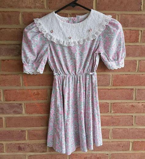 Sweet Vintage Girls Pink /& Black Striped Dress Dress Size 4 5 6 6X