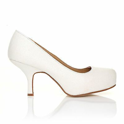 NEW WOMENS LADIES MID HEEL CASUAL SMART WORK PUMP COURT SHOES SIZE 3-8