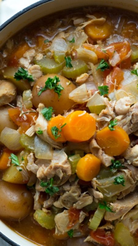 Slow Cooker Tuscan Chicken Stew ~ This easy slow cooker recipe simmers chicken, potatoes and rosemary with vegetables for a delicious and flavorful supper.