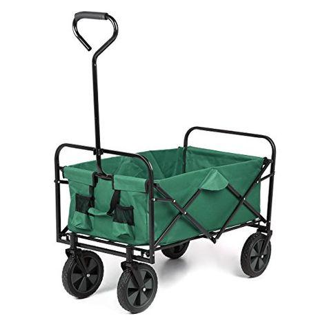 Sekey Carro Plegable de Mano Azul Oscuro Carro de Playa Carro de Transporte Adecuado para Todos los terrenos Remolque de jard/ín Carretilla Plegable para Exterior