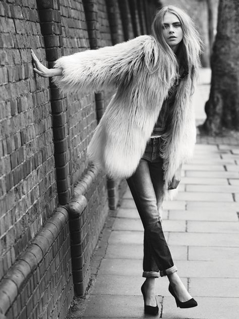 Cara Delevingne and George Alsford Pepe Jeans FW 2013 Ad Campaign Photographer Josh Olin London Cool Shag Fur Coat Rolled Cuffed Skinny Jeans Suede Pumps