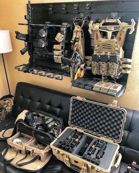 Led Monkey approved 👍🏼🇺🇸 ———————————————————————— knows how to build a man cave 😈 —————————————————– 👉🏼🔥LMT gear available! Link in the bio! 🐵Use or tag us for a shot at a. Weapon Storage, Gun Storage, Armas Airsoft, Tactical Wall, Military Guns, Military Tactical Gear, Tactical Helmet, Battle Belt, Airsoft Gear