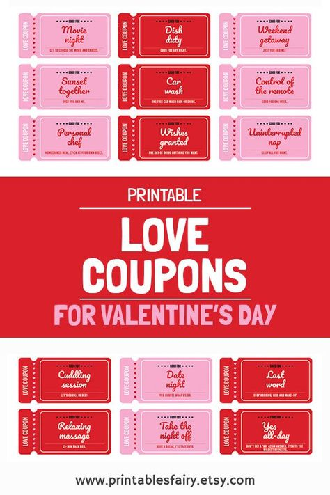 DIY the perfect Valentine's Day gift with this printable coupon book! It includes pre-filled romantic and naughty coupons + blank coupons for you to fill as you want. #valentinesday #valentinesdaygift #valentinesdaygiftideas #valentinesdaygiftsforhim #lovecoupons