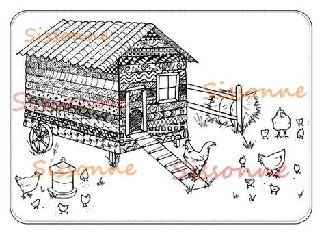 Chicken Coop Zentangle Inspired Coloring Page Instant Pdf