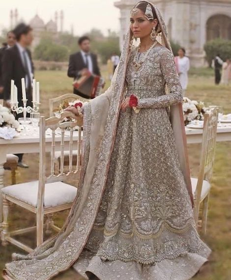 BUY LATEST WALIMA DULHAN LAHNGA IN LIGHT GRAY AND PINK COLOR MODEL# B 1813