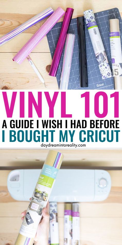 Today you are going to learn everything there's to know about vinyl in the Cricut (and other die-cutting machines) world. Today you are going to learn everything there's to know about vinyl in the Cricut (and other die-cutting machines) world. Cricut Air 2, Cricut Mat, Cricut Help, Cricut Craft Room, Tips And Tricks, Cricut Explore Projects, Cricut Vinyl Projects, Craft Projects, Craft Ideas