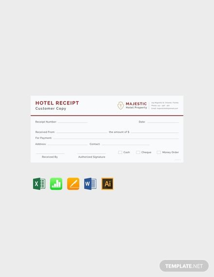 Simple Hotel Receipt Template Free Pdf Word Excel Apple Pages Illustrator Apple Numbers Receipt Template Invoice Template Word Words