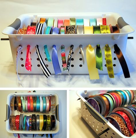 ribbon organizer. would be cute for craft projects or children.