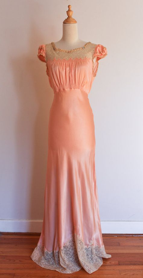 1930s Dashing Deb vintage peach lace nightgown by inheritedattire, $112.00