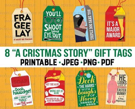 A Christmas Story Movie Quotes Gift Hang Tags Christmas Holiday Printable for Presents PNG PDF JPEG