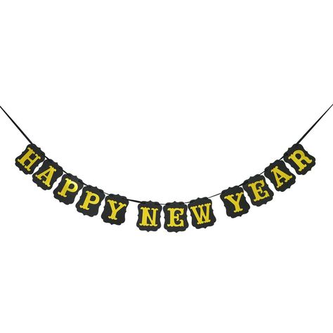 Vintage Black And Gold Happy New Year Banner Bunting Garland