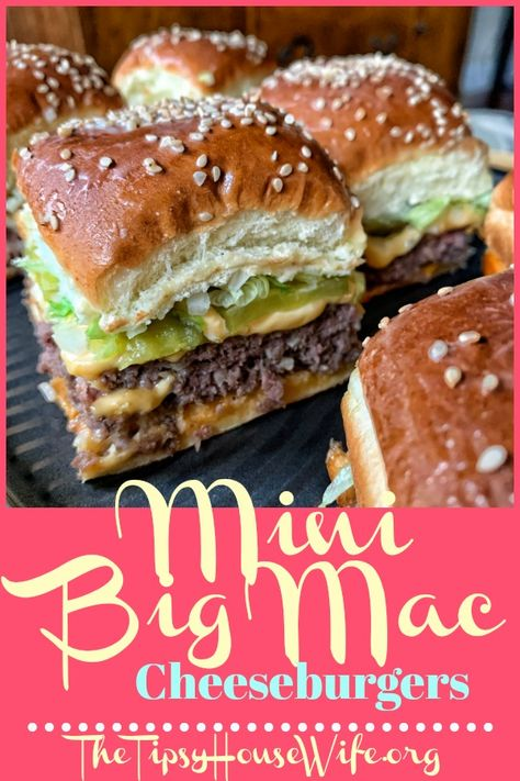 Mini big mac cheeseburgers a perfect recipes for parties or busy weeknight meals. Easy and affordable to make. appetizers for kids Mini Copycat Big Mac Cheeseburgers Roast Recipes, Cooking Recipes, Lentil Recipes, Chicken Recipes, Hamburger Recipes, Hamburger Dinner Ideas, Steak Marinade Recipes, Hamburger Dishes, Homemade Hamburger Helper