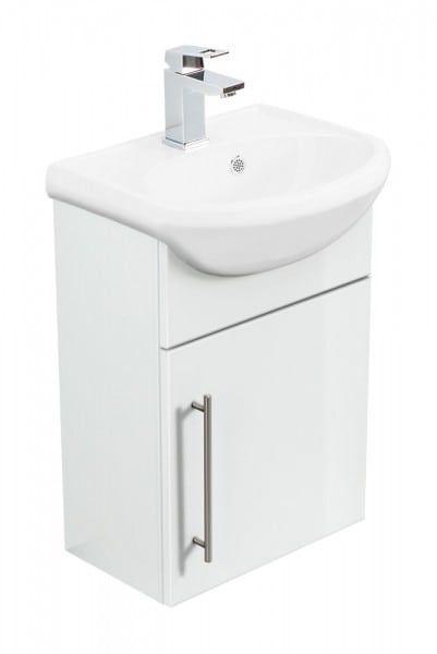 Badmobel Primus Weiss Hochglanz Waschbecken Unterschrank Und Kleines Waschbecken