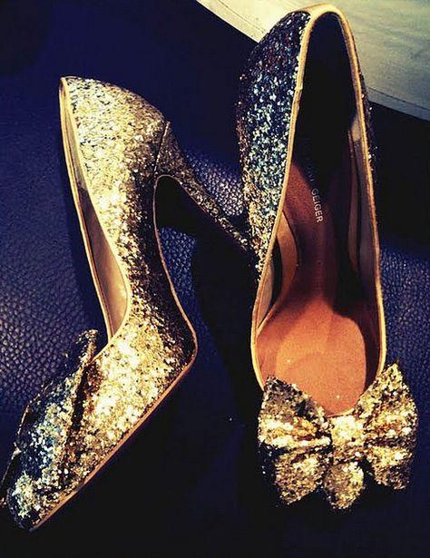 75df70cf3 Kurt Geiger Gold Glitter Bow Shoes - I m in LOVE!!!