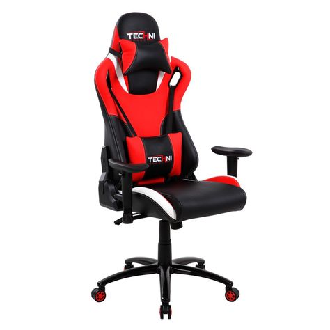 Ergonomic High Back Racer Style Video Gaming Chair Red Techni