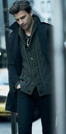 Johannes Huembl, in a Charcoal Grey Cable Knit Cardigan, and Navy Wool Over Coat. Men's Fall Winter Fashion.