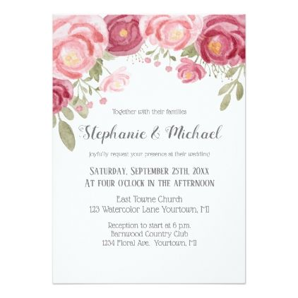 Watercolor Blush Pink Peonies Card Wedding Invitations Cards