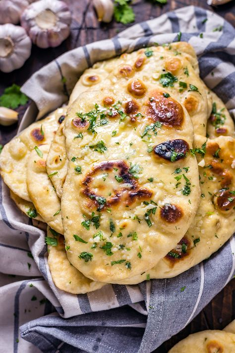 Homemade Garlic Naan. Even if you've never made bread at home before, this soft, chewy, garlicky flatbread is easy to make and well worth the effort. You're going to love serving it with your favorite Indian dishes. | hostthetoast.com