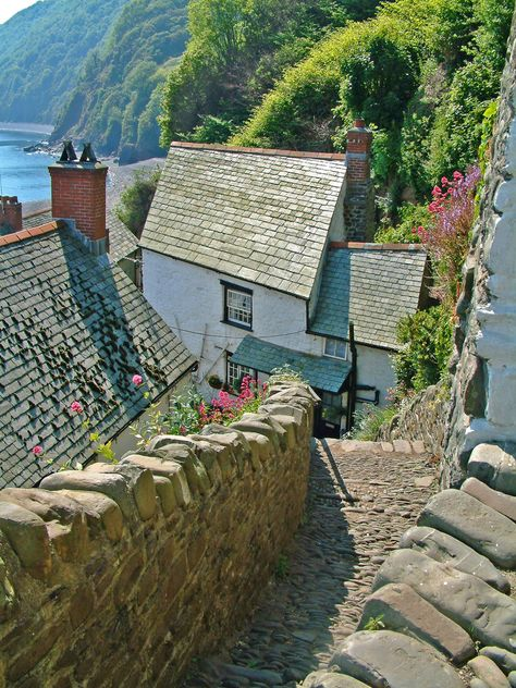 """""""Amazing seaside villages. [In] Clovelly, Devon, UK they use donkeys to deliver goods as it's too steep for cars."""""""