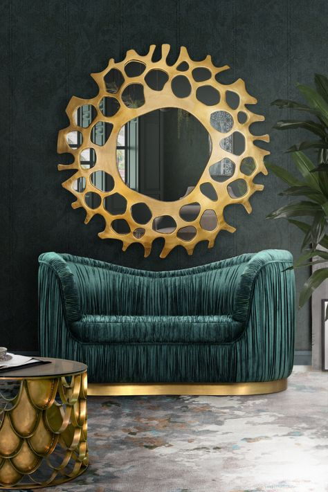 This interior design conveys luxury and glamour specially due to the Dakota sofa since it is very sumptuous. For more information visit insplosion.com!  #inspirational #interiordesign #interiordesigninspiration #goldandgreen #luxurylivingroom #luxurysofas